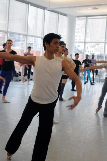 Derek Rocas taking class at the New York International Ballet Competition